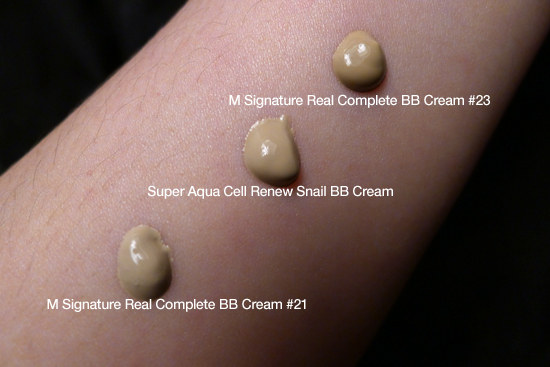 Missha Super Aqua Cell Renew Snail BB Cream  Swatch #21 #23