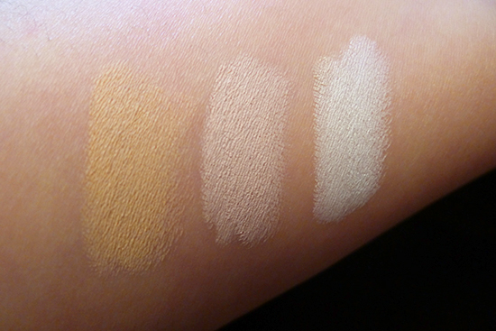 Swatch Comparison : Chella Highlighter Pencil in Ivory Lace, Benefit High Brow, NYX Jumbo Eye Pencil in Milk
