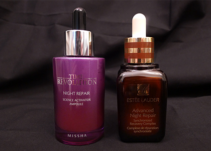 Skincare Smackdown:  Missha Time Revolution Science Activator Ampoule vs. Estée Lauder Advanced Night Repair Serum