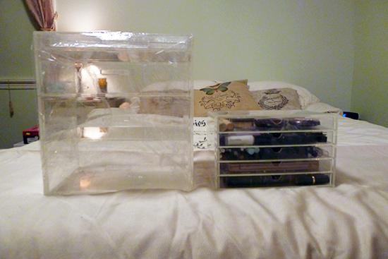 Glam Beauty Box vs. Muji 5 Drawer Storage System