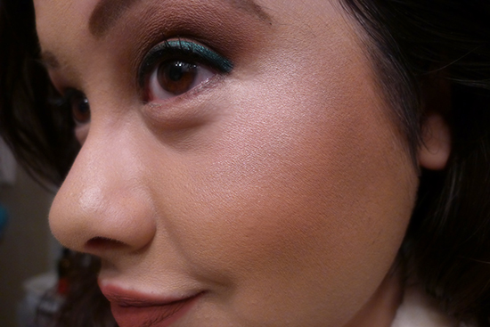 I'm wearing #01 Wannabe Face on the tops of my cheeks for this look.