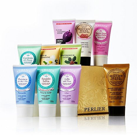 Perlier Hand Cream w/ Honey Body Balm 10-piece Mini Set
